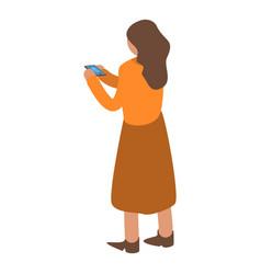 woman buy online smartphone icon isometric style vector image