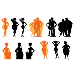 Dieting silhouettes vector image vector image