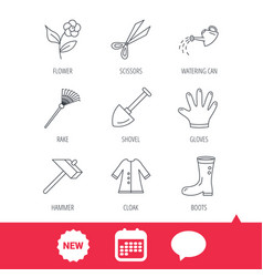 scissors hammer and gloves icons shovel signs vector image vector image