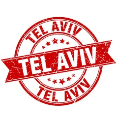 Tel aviv red round grunge vintage ribbon stamp vector