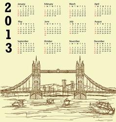 tower bridge vintage calendar 2013 vector image