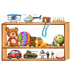Toys on wooden shelves vector