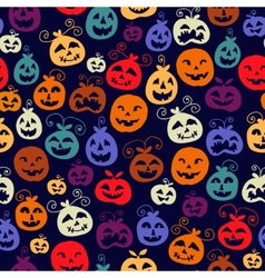 Traditional halloween carved smiling pumpkins vector