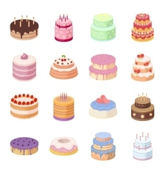 Cakes set icons in cartoon style Big collection vector image