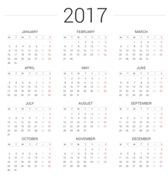 Calendar 2017 year simple style vector image vector image