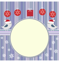 Christmas frame with two cute birds vector image