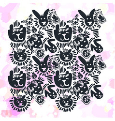 pets stylish seamless textile ink brush strokes vector image vector image
