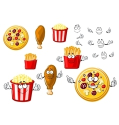 Pizza chicken leg french fries and popcorn vector image vector image