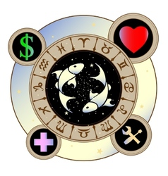 signs of the zodiac icons medicine work heart vector image vector image