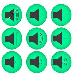 Sound controls button set flat round vector image vector image