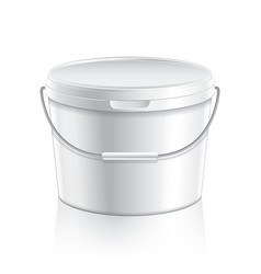 White plastic bucket for paint or food vector image