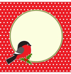 Christmas round frame with bullfinch vector image vector image