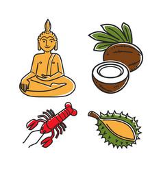 Food and buddha statue vector