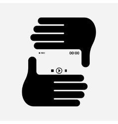 Hand photo frame vector image