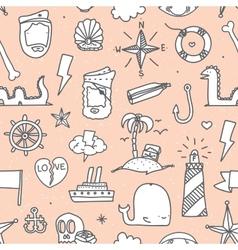 Pirate tattoo seamless pattern vector