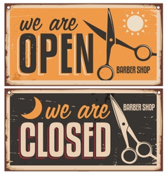 Retro door signs for barber shop vector image vector image