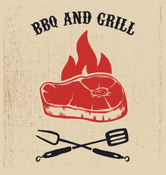 bbq and grill poster with steak fire crossed fork vector image