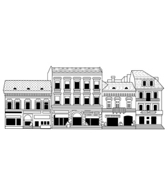 Black abstract old buildings city isolate on white vector