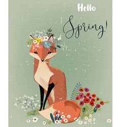 cute fox with floral wreath vector image