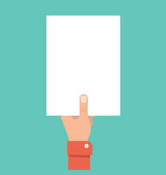 hand holding blank sheet of paper vector image