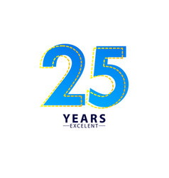25 years excellent anniversary celebration blue vector