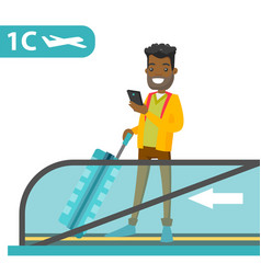 A traveller in an airport with a smartphone and a vector