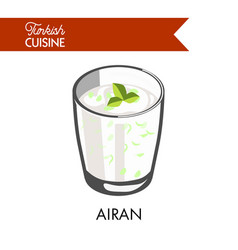 airan with herbs in transparent glass isolated vector image