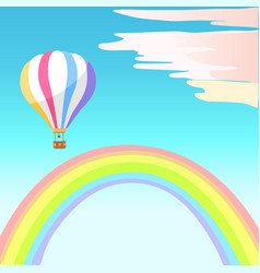Airballoon with colorful stripes in sky rainbow vector
