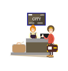 Airport check-in in flat style vector