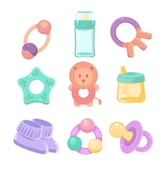 Baby accessories set cute design pastel colors vector