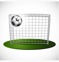 Ball on soccer goalpost with net background vector