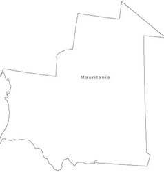 Black White Mauritania Outline Map vector image
