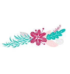 Bouquet flowers and floral elements isolated on vector