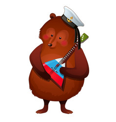 brown bear in sailor hat holds the vector image