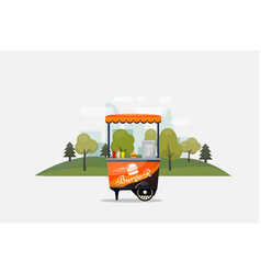 burger fast food card isolated kiosk on wheels vector image