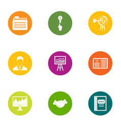 Business allocate icons set flat style vector