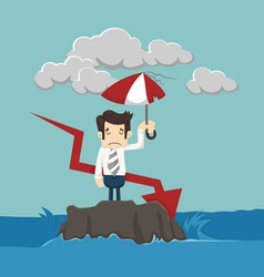 Businessman with umbrella standing in the sea vector image