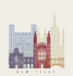 cambridge skyline poster vector image