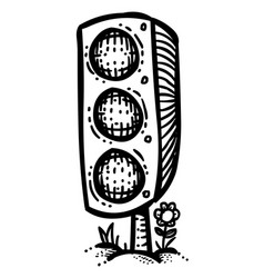 Cartoon image of traffic light vector