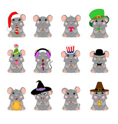 Cartoon mouse emotions vector