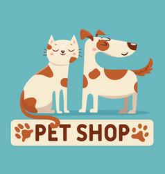 cat and dog cartoon pet shop or vet store logo vector image