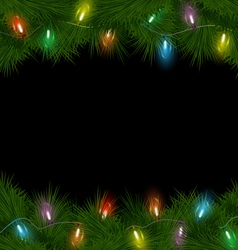 Christmas lights on pine on black vector