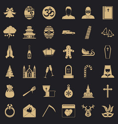church icons set simple style vector image