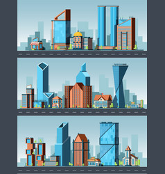 city landscape urban buildings with offices in vector image