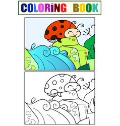 coccinellidae children coloring and color black vector image