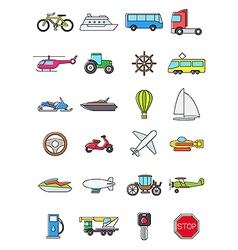 Colorful transport icons set vector image