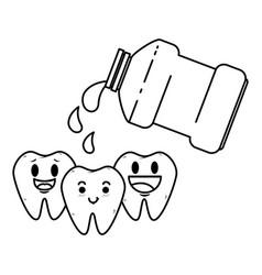 Comic teeth with mouthwash kawaii characters vector