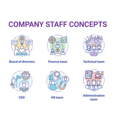 Company staff concept icons set corporate vector