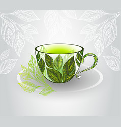 Cup with green tea vector