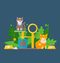 cute cats in flat style funny animal cartoon vector image